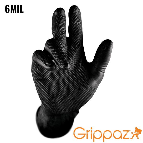 Grippaz Black Nitrile Gloves - 6MIL - 50 Per Box