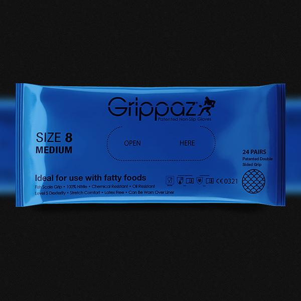 Grippaz Blue Nitrile Gloves - 8MIL - 48 Per Bag