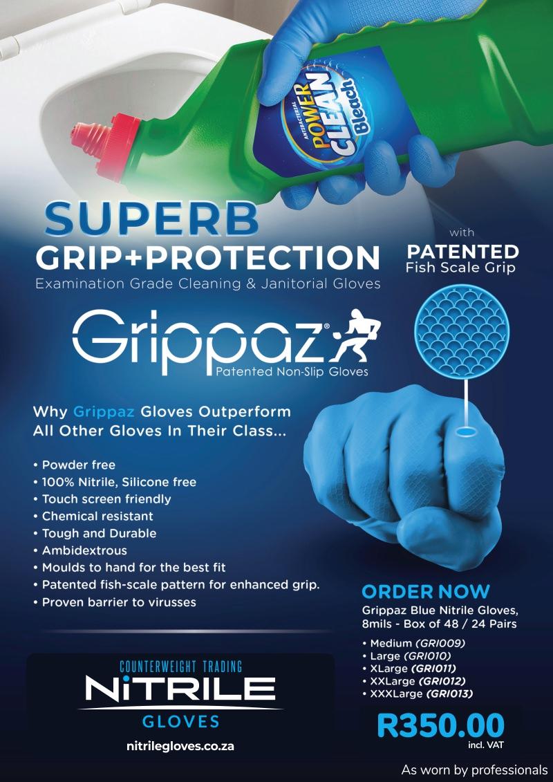 Grippaz Blue Nitrile Gloves – 8MIL – 48 Per Box 1
