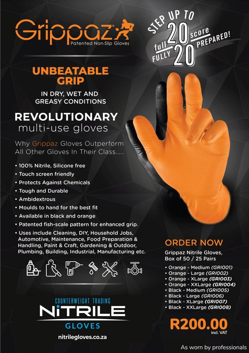 Grippaz Orange Black Nitrile Gloves – 6MIL – 50 Per Box