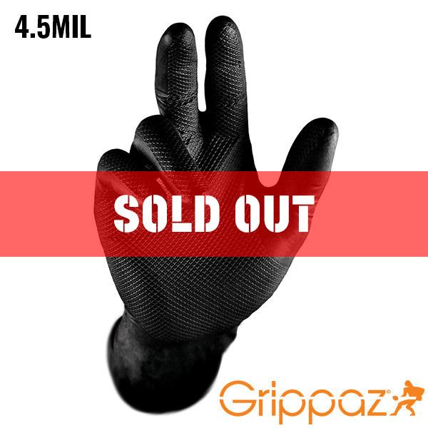 Grippaz Black Nitrile Gloves - 4.5MIL - 50 Per Box
